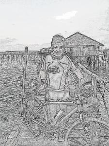 pushing bike back to kelong