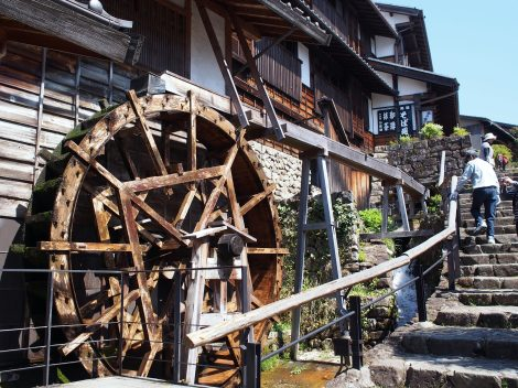 water wheels are a common sight in kisoji