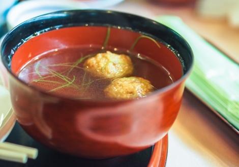soup, delicately garnished