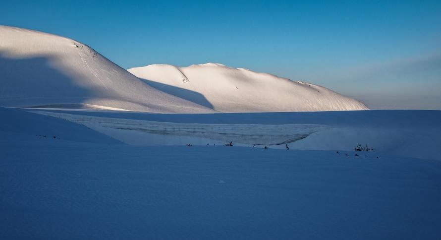 sunlight on snow