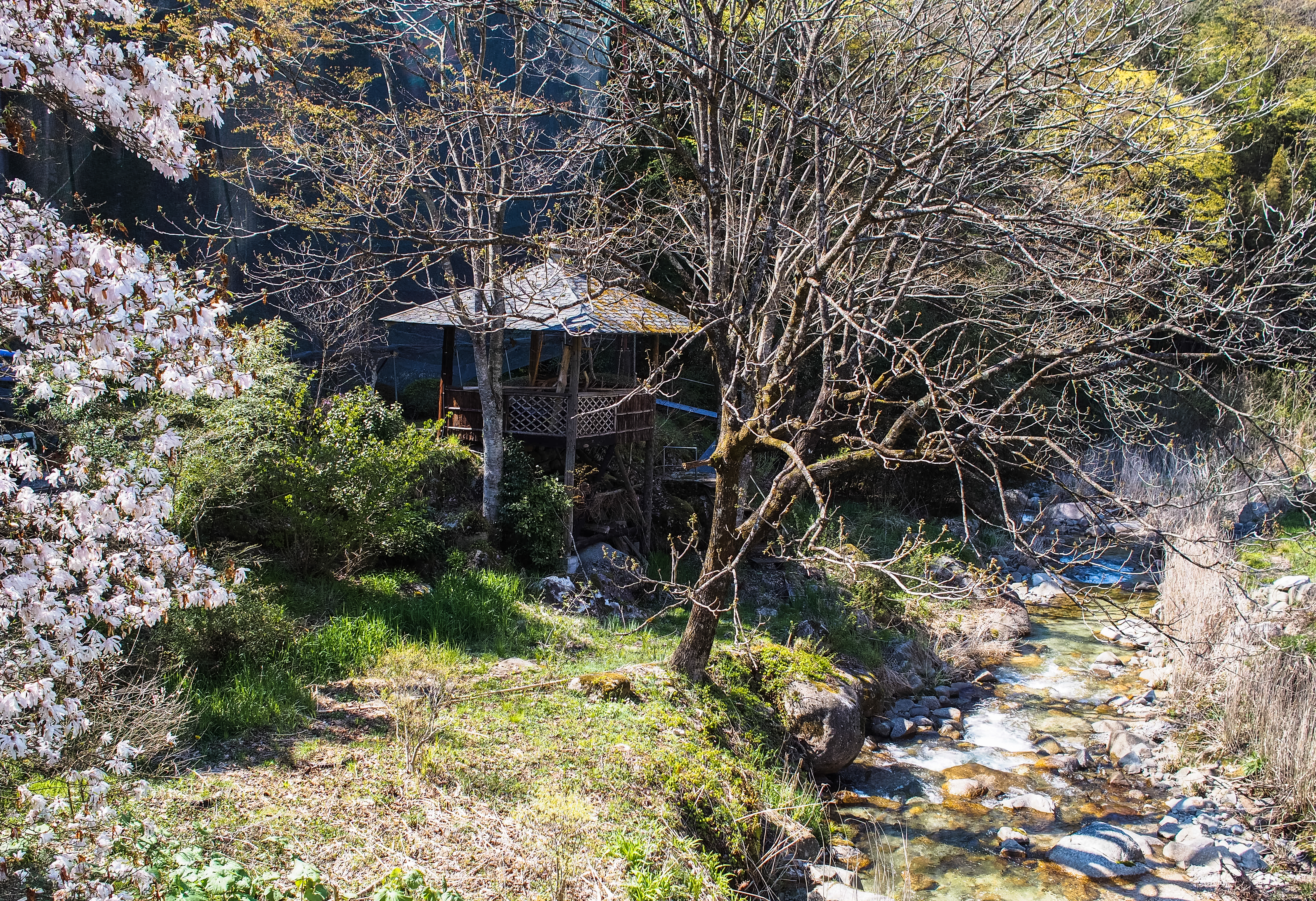 a hut at a creek