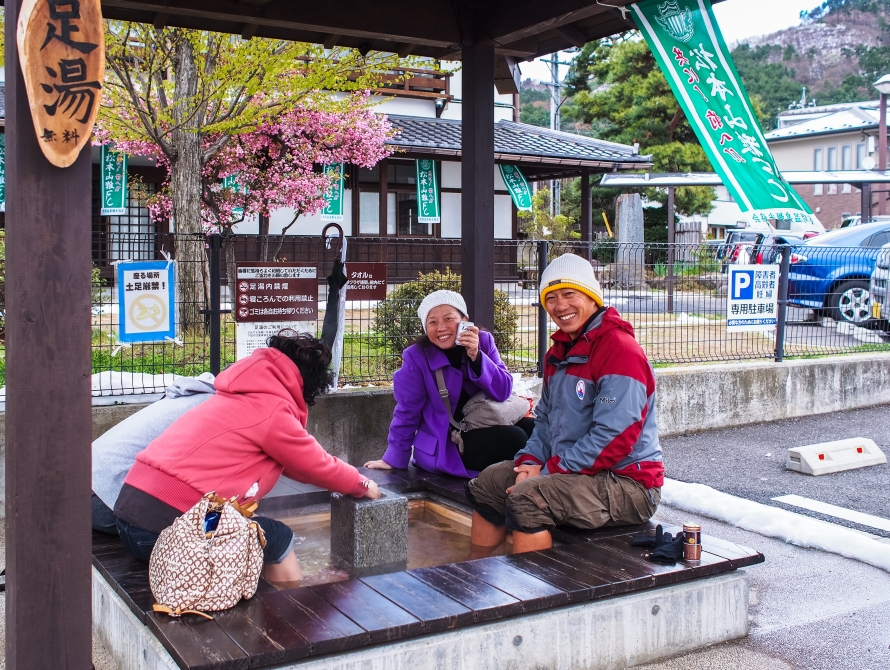 foot bath outside hot plaza asama