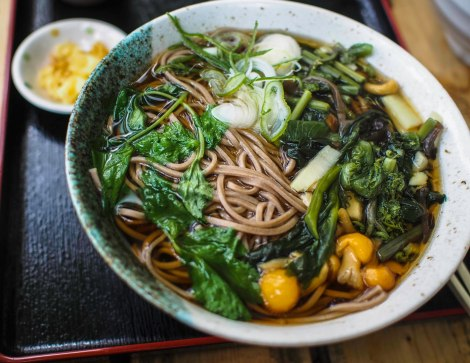 pipping hot vegetables soba