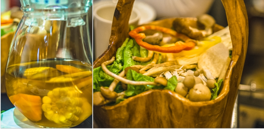 water chestnut and fresh vegetables