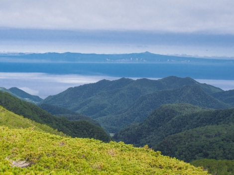 the kuril islands close -up. can almost see the buildings on it