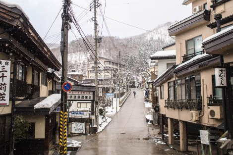 snow laden street