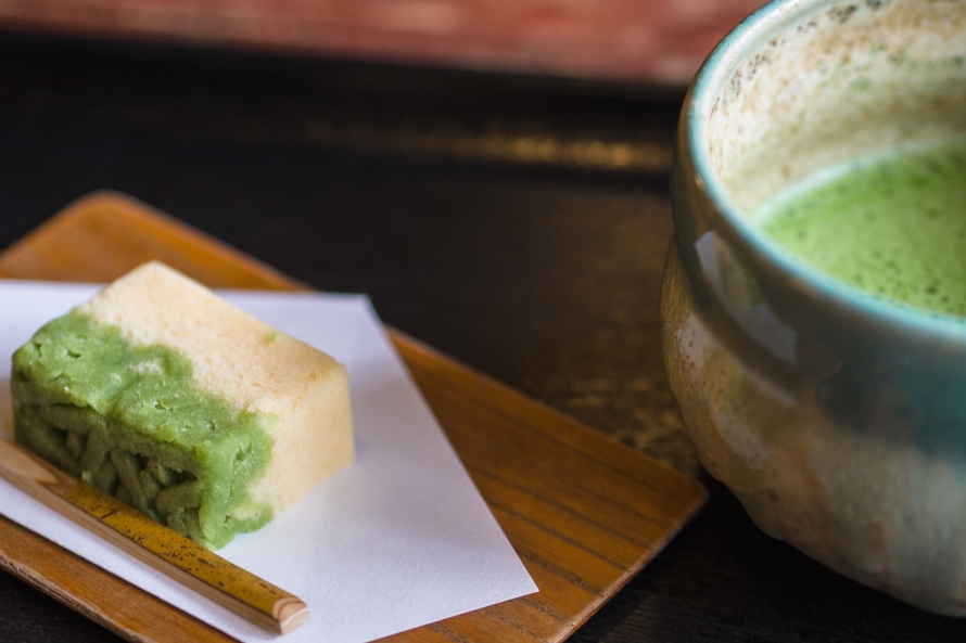 traditional green tea and sweet