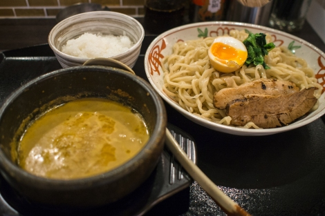 curry tsukemen with big slices of char siew
