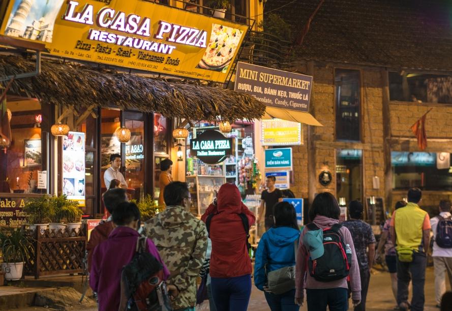 main shopping street in sapa