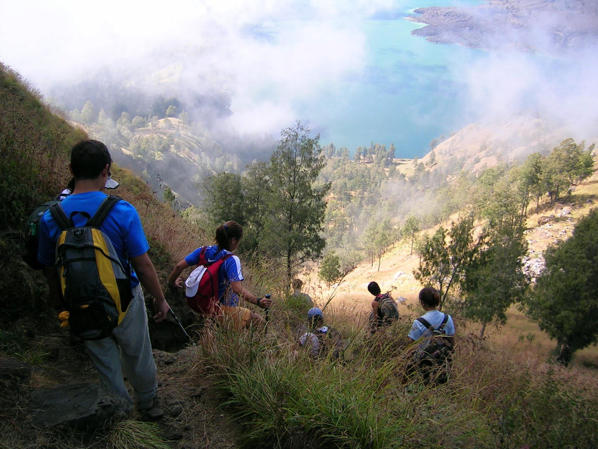 descending towards lake